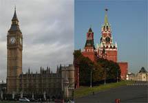 Москва и Лондон. Коллаж Граней.Ру