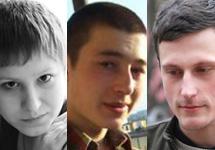 Нацболы Алена Горячева, Михаил Пулин и Павел Жеребин